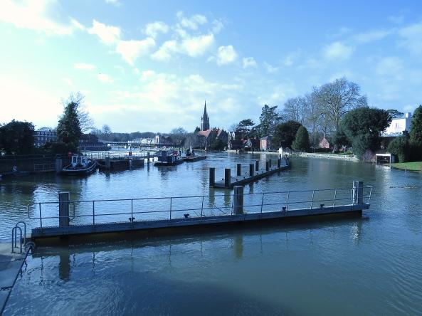 Marlow lock, bridge and church.