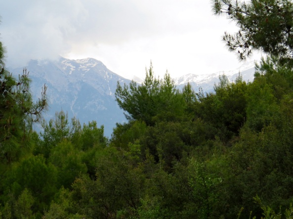 The mountains behind our villa looking a little wild with some snow on the top!