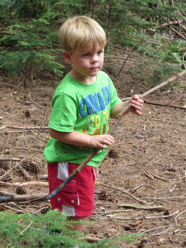 The youngest…..next year for the jumping adventure….this year for poking around with a stick adventure!