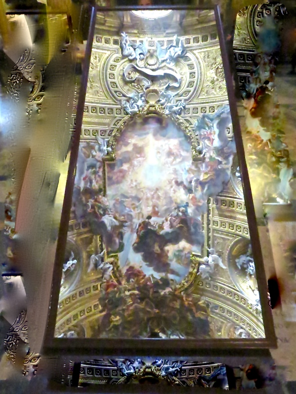 Mirror on floor of a church in Rome showing the decorated ceiling!